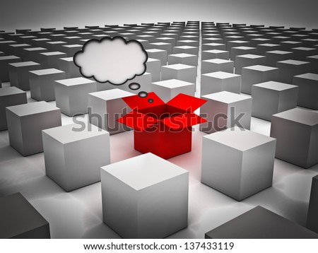 Stand out from the crowd , Individuality , Different and Think outside the box concepts , Opened red box with thought bubble amongst the closed white boxes
