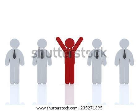 Stand out from the crowd or different concept ,3d Red man standing with arms wide open with other people on white background - stock photo