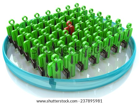 Stand Out From The Crowd - The concept of leadership in business  - stock photo