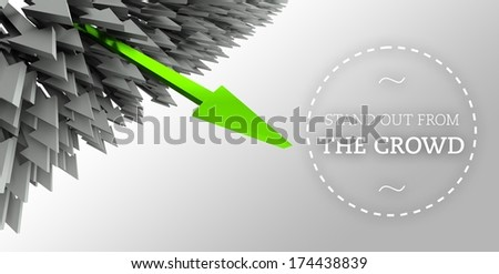 Stand out from the crowd with arrow individuality concept - stock photo