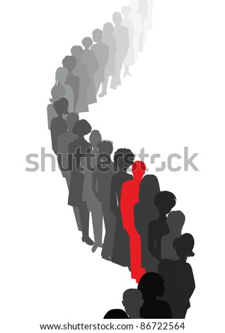 Stand out in a queue - stock photo