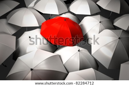 Stand out of a crowd - individuality - stock photo