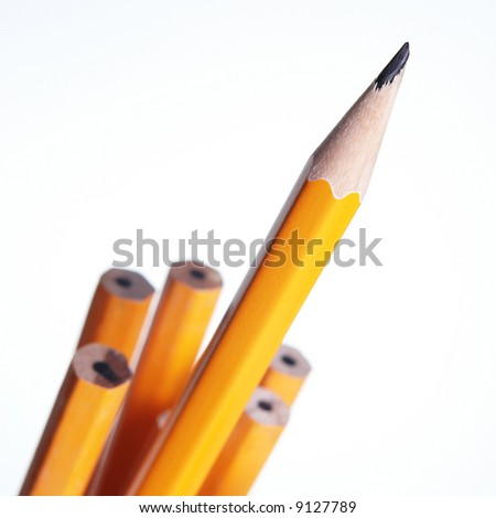 Stand out sharp pencil is ahead of the rest. - stock photo