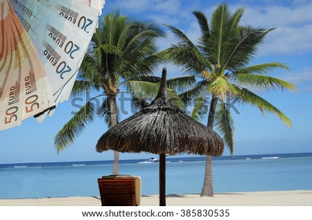 Stand, sun, sea, palm beach chair. So one imagines a tax haven. - stock photo
