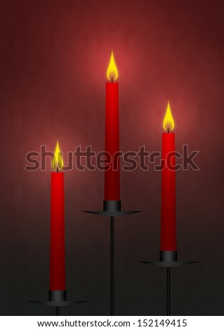 stand the candles on a red background