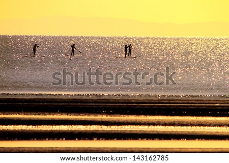 stand up paddle boarding fitness group silhouette brisbane australia - stock photo