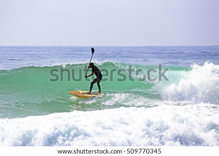 Stand up paddle boarding on the atlantic ocean