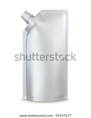 stand-up spout pouch with cap isolated - stock photo