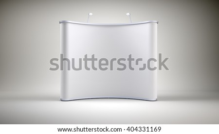 Stand with blank screen on grey wall background. 3D rendering - stock photo