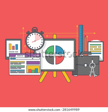 Stand with charts and parameters. Business concept of analyticsr. Analysis big data seo. Can be used for web banners, marketing and promotional materials, presentation templates. Raster version - stock photo
