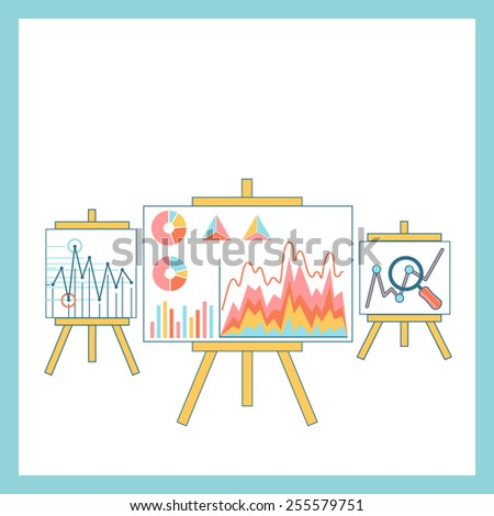 Stand with charts graphs and parameters. Statistic business concept of analytics. Raster version - stock photo