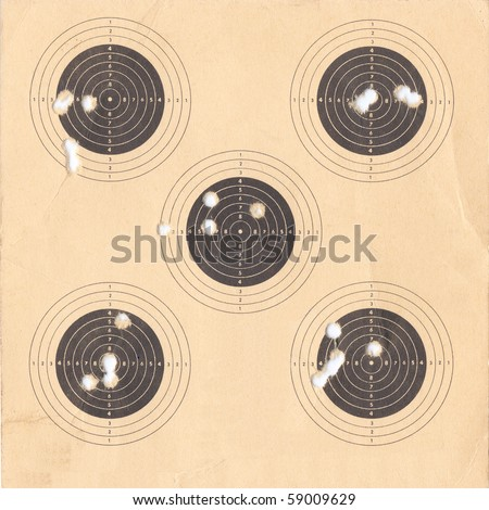 Standard black and white Olympic target for or firing a pistol useful as a background - stock photo