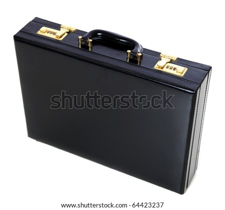 Standard black briefcase. All on white background.