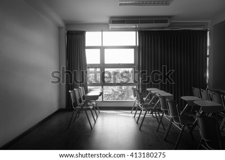 standard classroom interior with  chair