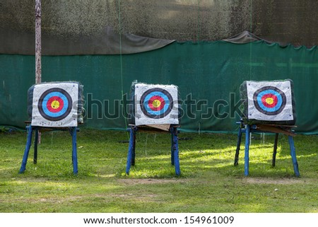 Standard colorful target for archery - stock photo