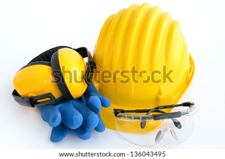 Standard construction safety equipment, it is isolated on white - stock photo
