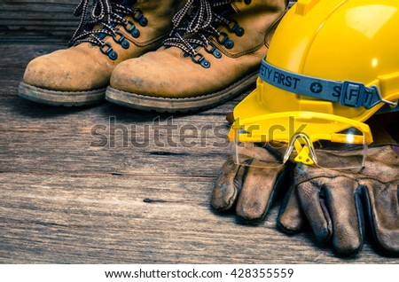 Standard construction safety,safety equipment - stock photo