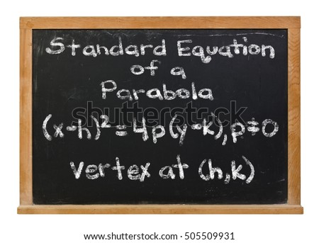 Standard equation of a parabola written in white chalk on a black chalkboard isolated on white