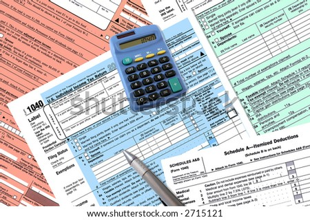 Standard 1040 Income Tax Forms - stock photo