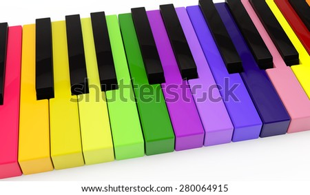 standard keyboard of a piano with non-standard color keys - stock photo