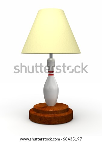 Standard tacky bowling pin lamp isolated on a white background - stock photo