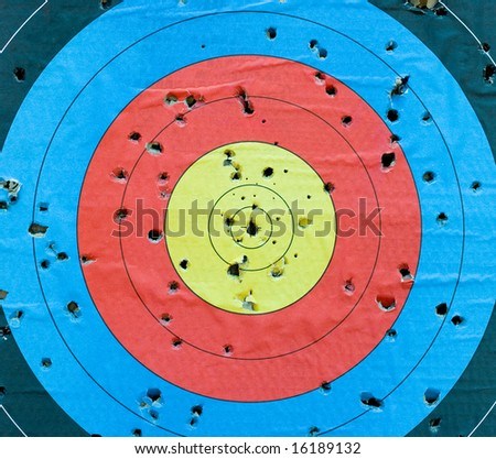 Standard targets are marked with 10 evenly spaced concentric rings, which generally have score values from 1 through 10.