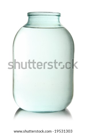 Standard three liter transparent glass jar filled with water, isolated - stock photo