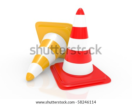 Standard traffic cone on a white background