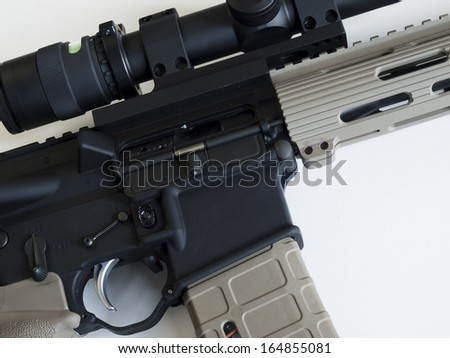 Standard US Army AR-15 Assault rifle fitted with barrel bipod telescopic site.