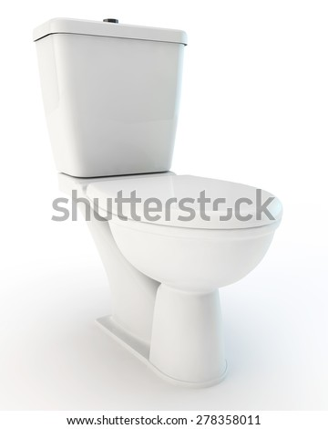 standard white toilet bowl with the closed cover - stock photo