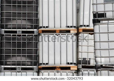 Standardized industrial container for chemical goods - stock photo