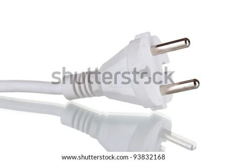 Standart white plug isolated on white - stock photo