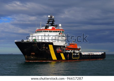 Standby and Rescue Ship, underway in calm sea. - stock photo