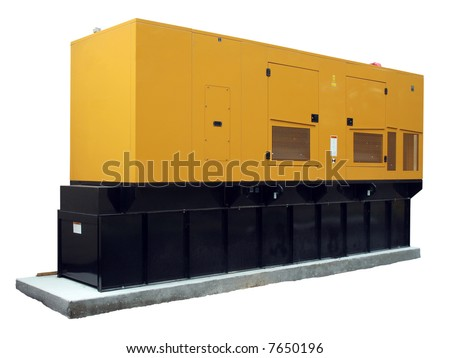 Standby generator, electric power plant, isolated [names removed] - stock photo