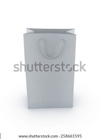 standing a blank white shopping bag 3d render isolate on white background