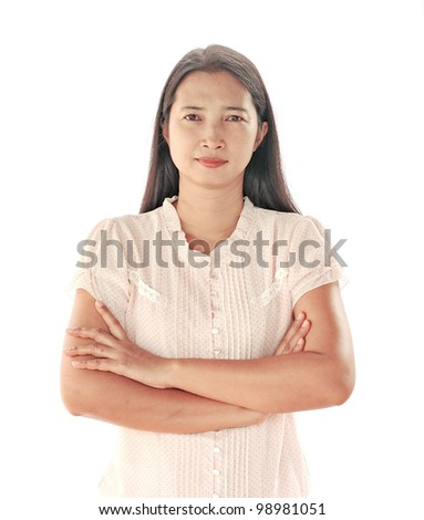 standing against wall in background - stock photo