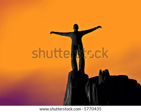Standing alone at the top of the precipice - stock photo