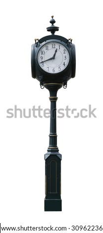 Standing alone tower clock in front of the amtrak station in Holland Michigan - stock photo