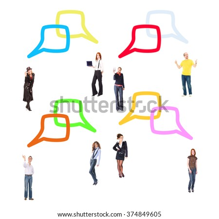 Standing and Talking Business Picture  - stock photo