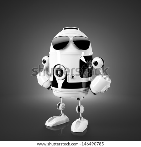 Standing android robot. Technology concept - stock photo