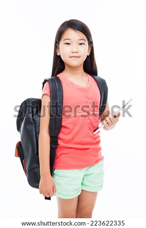 Standing Asian girl with Tablet PC isolated on white.  - stock photo