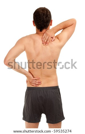 standing back naked man with hands on backs - stock photo