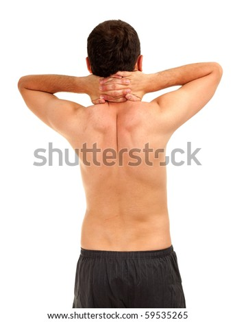 standing back naked man with hands on neck