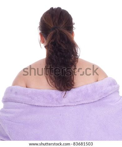 standing backblack hair overweight, fat woman in bathrobe, series - stock photo
