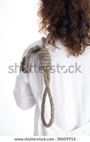 standing backwards keeping gallows woman - stock photo