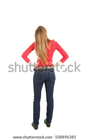 standing backwards young woman looking up, full length, white background