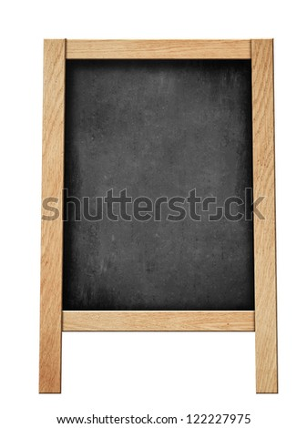 standing blackboard for your offer or menu isolated on white - stock photo