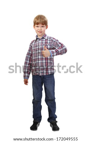 Standing boy shows all is excellent isolated on white background - stock photo