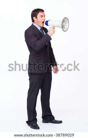 Standing businessman shouting through a megaphone agaisnt white - stock photo