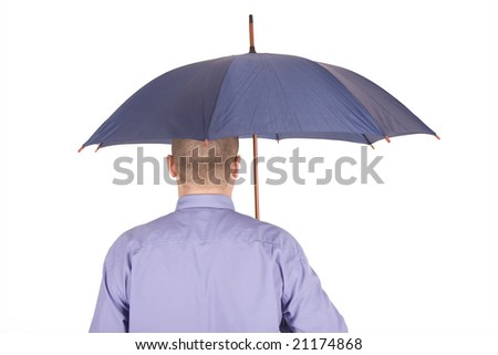 standing businessman with umbrella